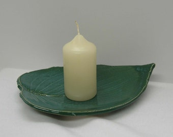 Porcelain Blue Green Hosta Imprinted Shallow Leaf Bowl
