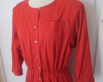 Vintage Apple Red Boss Leslie Fay Dress with Buttons, Size 14 or 16, L or XL