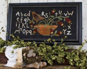 Primitive Wool Applique - Alphabet Song by Threads that Bind - Table Runner - Wool Applique Pattern