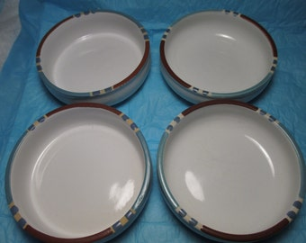 "Lot of 4 Dansk Mesa White Sands SOUP Cereal BOWLS 5 7/8"" Japan Chowder Rice Chile"