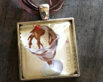 Hot Fudge Sundae Necklace ~  Soda Fountain Favorites ~ Dome Pendant Tray Necklace ~ Postage Stamp Jewelry ~ Forever Stamp ~ Ice Cream Sundae
