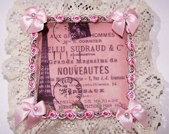 ON SALE Eiffel Tower, Paris France, Vintage Picture, Bedroom, Wall Decor, Home Decor, Ribbons and Lace, Pink, Pink Roses, French Decor, Mixe