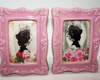 Home Decor, Gifts for Her, Pink, Shabby Chic, Cottage Chic, Mid Century Women, Roses, Pink Roses, Free Shipping, Bedroom Decor, Porcelain