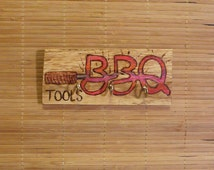 BBQ hook rack wood burning pyrography barbeque tools three 3 gold hooks hanger attached 3x6 inches ready to ship