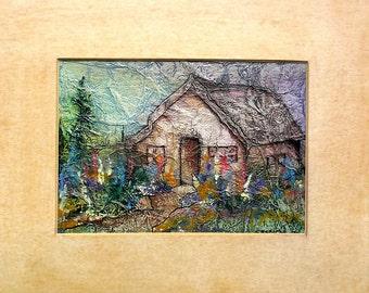 Original Painting Watercolor On Tissue Zen Inspired Fantasy DELPHINIUM COTTAGE Flower Garden Gate Lynne French