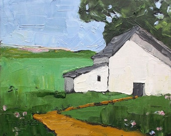 Impressionist Painting Plein Air Landscape California Farm Barn Art Lynne French o/c 8x10