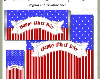 July 4th Candy Bar Wrapper Set - Digital Printable - Immediate Download