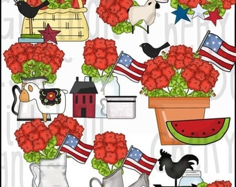 Americana Geraniums Clipart Collection - Immediate Download