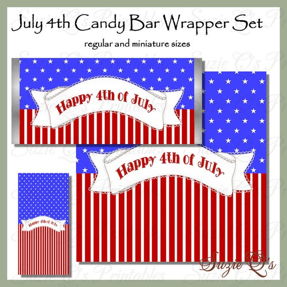 Items Similar To July 4th Candy Bar Wrapper Set