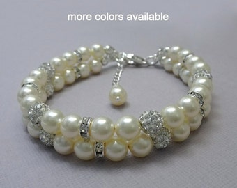 Wedding Bracelet, Ivory Pearl Wedding Bracelet, Bridal Bracelet, Bridesmaid Gift Bracelet, Bridesmaid Bracelet, Swarovski Pearl Bracelet