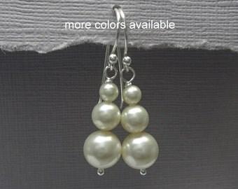 Swarovski Ivory Pearl Earrings, Bridesmaid Gift Earrings, Bridesmaid Earrings, Mother of the Groom Gift, Maid of Honor Gift Wedding Earrings