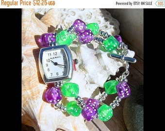 ON SALE 50% OFF Silver Watch, Purple & Green Dice Jewelry     Sold as is 6 inches