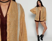 Wool Cardigan Sweater Striped 80s MOHAIR Sweater Sheer Tan Button Up 1980s Grandpa Slouchy Vintage Retro 70s Boho Plain Large