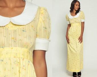 Peter Pan Dress 60s Babydoll Mod Maxi PUFF SLEEVE Floral Print Collar Boho Hippie 70s Vintage Empire Waist Pastel Yellow Medium