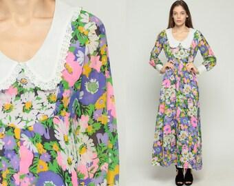 Peter Pan Collar Dress 60s Maxi Floral Print Vintage 70s Mod Dolly Lace Trim Boho Hippie Empire Waist Long Sleeve Purple Green Medium