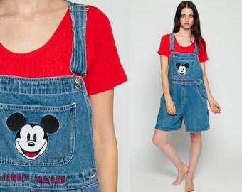 Disney Overalls Denim Overall MICKEY MOUSE Shortalls Cartoon Romper Shorts 90s Grunge Jean Blue Woman Vintage Medium