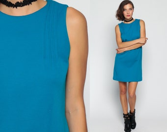 Wool Shift Dress 1960s Mini Mod BUTTON BACK 60s Scooter Vintage Sleeveless Mad Men Classic Sixties Minidress Turquoise Blue Small