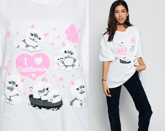 Cat Shirt Kitten Tshirt I HEART CALIFORNIA Shirt Animal Puffy 80s Graphic Retro Tee Burnout 1980s Vintage Pink Kawaii T Shirt Extra Large xl
