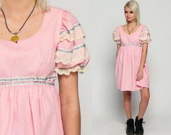 Babydoll Mini Dress Ruffle Lace 70s Empire Waist Boho 60s Mod Dolly PUFF Sleeve Cotton Peasant 1970s Vintage Lolita Pastel Pink Small xs
