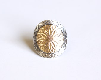 "Modern silver ring handmade with a round brass and sterling silver circles w/ intricate pattern - made to order size - ""Mandala Ring"""