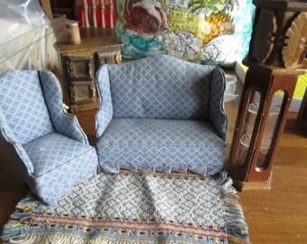 SALE Dollhouse Decor. Blue Print Sofa, Chair, Rug and Tall Cabinet. #185