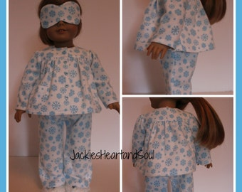 Flannel Pajamas Snowflakes Pants Top Sleep Mask Knitted Slippers
