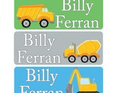 30 Custom construction Name Stickers | Personalized Waterproof Boy or Girl Labels | Kids School Supplies No.N20