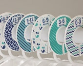 6 Baby Closet Organizers Navy Green Nautical Chevron Whale Stripes Polka Dot Nursery Closet Clothing Dividers  | CLOSET DOODLES® No.125