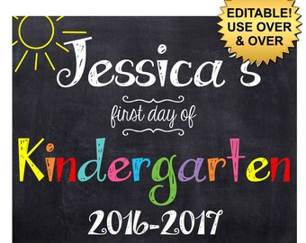 DIY editable printable First day of school ANY grade Girls or Boys chalkboard poster Instant download sign Digital File PDF 16x20 or 8x10