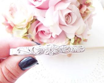 Ox Silver Floral Tie Bar - Floral Flower Tie Clip - Mens Tie Clip - Wedding Accessory - Groomsmen Tie Bar - Woodland Wedding