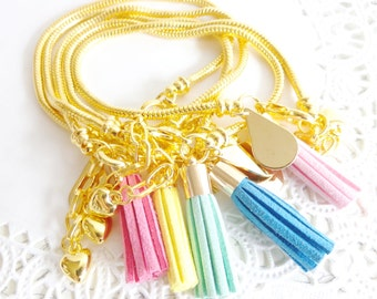 Gold Tassel Bracelet - Gold Snake Chain Charm Bracelet - Suede Tassel Dangle Bracelet - Gold Teardrop Charm Bracelet - Pink Tassel Bracelet