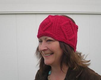 Irish Fisherman Headband Red Cable for Women