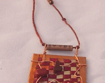 Woven Copper Necklace with Rust Ribbon and Beads - Item N16a