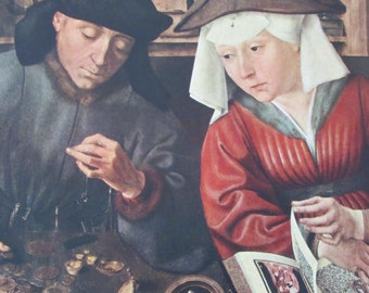 Quentin Matsys Reproduction Fine Art Print/The Money Lender and His Wife/1951 Vintage Book Page/9.5 x 13 in
