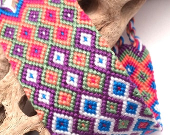 Friendship bracelet cuff - extra wide - diamond pattern