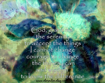 Serenity Prayer Blue Green Abstract Art Print Wall Decor Office Decor 8x10 inch