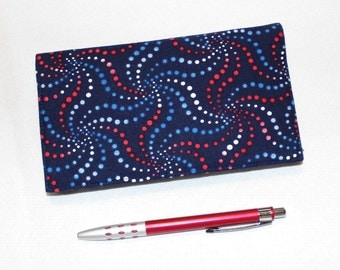 LAST ONE! Fireworks Checkbook Cover for Duplicate Checks with Pen Holder, Patirotic Red White and Blue Cotton Fabric