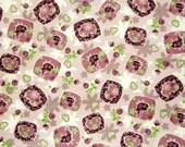 Purple Flower Heart Knit Fabric 1 yd