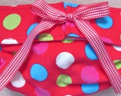 Dog Diapers Britches or Panties Ultra Soft Red Corduroy with Bright Multi Colored Dots