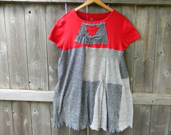 Upcycled Women Short Sleeve Top Tunic Loose Women Top Wearable Art Bohemian Clothing Women Dress LARGE Gray / Black Print/ Red