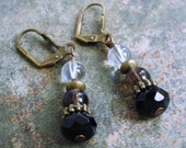Black Onyx, Smoky Quartz, Rock Crystal Earrings, Leverback, Antiqued Brass, Handcrafted