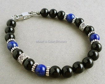 Black Onyx and Blue Lapis Gemstone Mens Bracelet - Handmade Jewelry for Men, Guys, Him, Dad