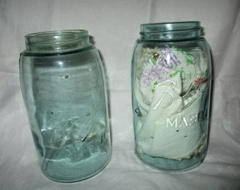Mason Ball  Jars Two Dark Aqua with Bubbles 1900's Antique Glass Canning Jars