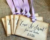 Personalized Wedding Tags/ Customized Favor Tags/ Love is Sweet/ SET of 50/ Personalised Favour Labels/ Ribbon Choice