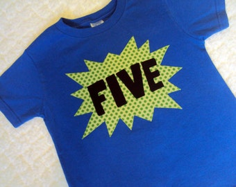 5 Year Old Birthday Shirt SuperHero Four 6