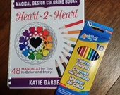 Signed Comb-Bound Coloring Book with Colored Pencils - Heart~2~Heart - 48 Mandalas to Color & Enjoy - Magical Design Coloring Books