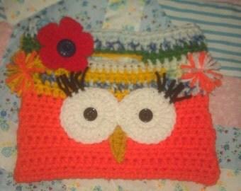 Handmade Crochet Owl Purse Orange and Crayon Color     Red Flower