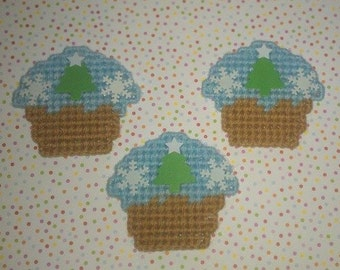 3 Handmade Christmas Tree and Snow Flakes  Cupcake Magnets