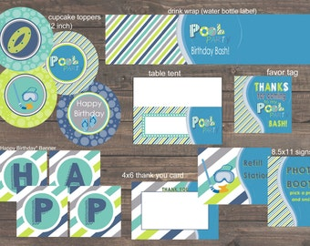 Instant Download Pool Party Birthday Party Pack - Print Your Own