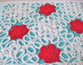 Red Floral on Aqua Vintage Cotton Chenille Bedspread Fabric 20 x 21 Inches
